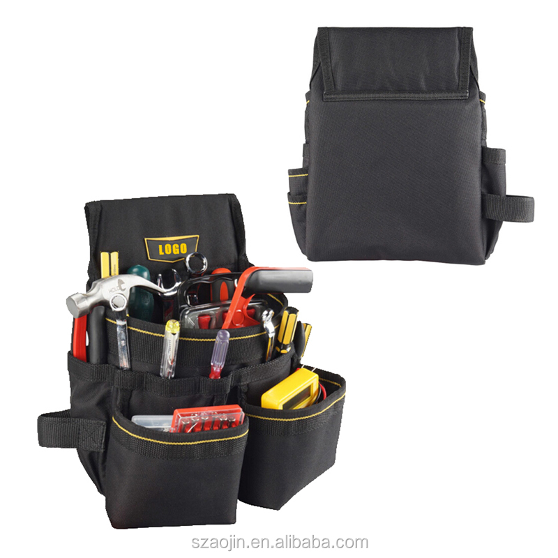 polyester tool bag black belt Custom logo portable electrical waist tool bag for electrician builder