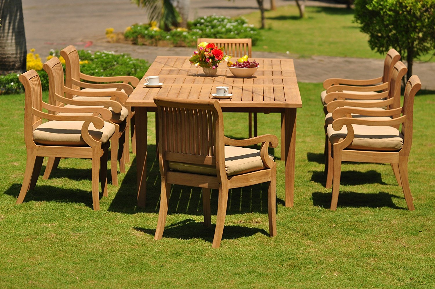 """Grade-A Teak Wood Dining Set 8 Seater 9 Pc: Large Atnas 122"""" Dining Rectangle Table Table and 8 Giva Arm / Captain Chairs #WFDSGV47"""