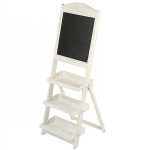 Vintage White Freestanding Wooden 3 Display Shelf Chalk Board