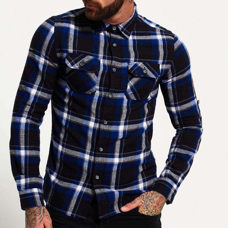 YL personalizado de alta calidad 100% de cuadros de algodón casual ceñido camisas de hombres