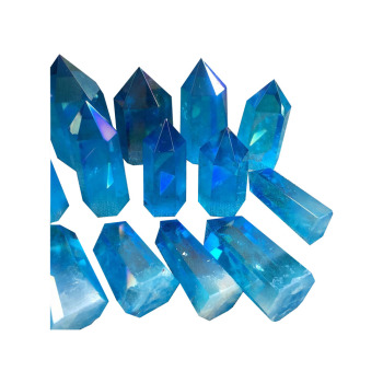 Natural Blue Aura Healing Crystals Points Obelisk Clear Quartz Crystal Wands For Sale