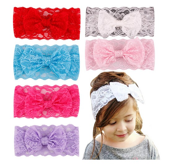 Baby Kids Girl Headband Toddler Lace Bow Flower Hair Band Accessories
