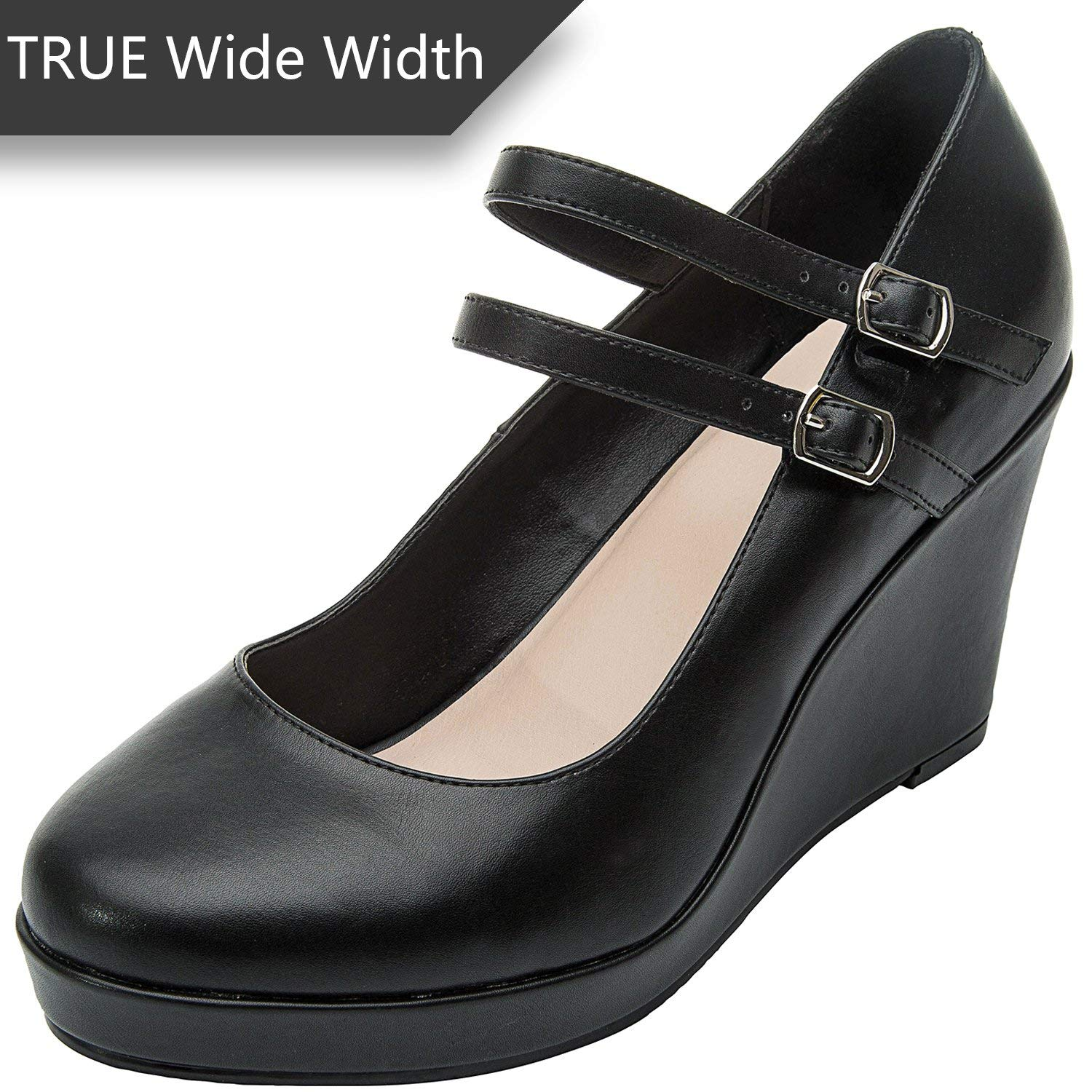 bf7a8a6d4f0 Get Quotations · Luoika Women s Wide Width Wedge Shoes - Mary Jane Ankle  Buckle Double Strap Round Closed Toe