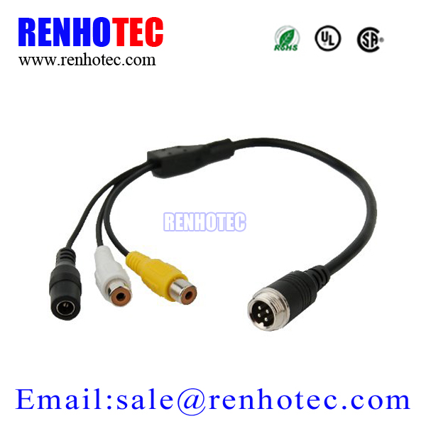 4 pin Aviation RCA Adapter Cable for Reverse Car Camera