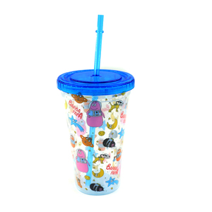 High Quality Acrylic Double Wall Plastic tumbler with straw