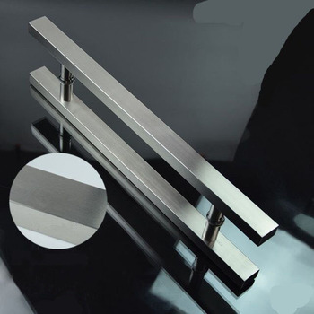 Stainless steel H type square tube classic wooden glass door handle