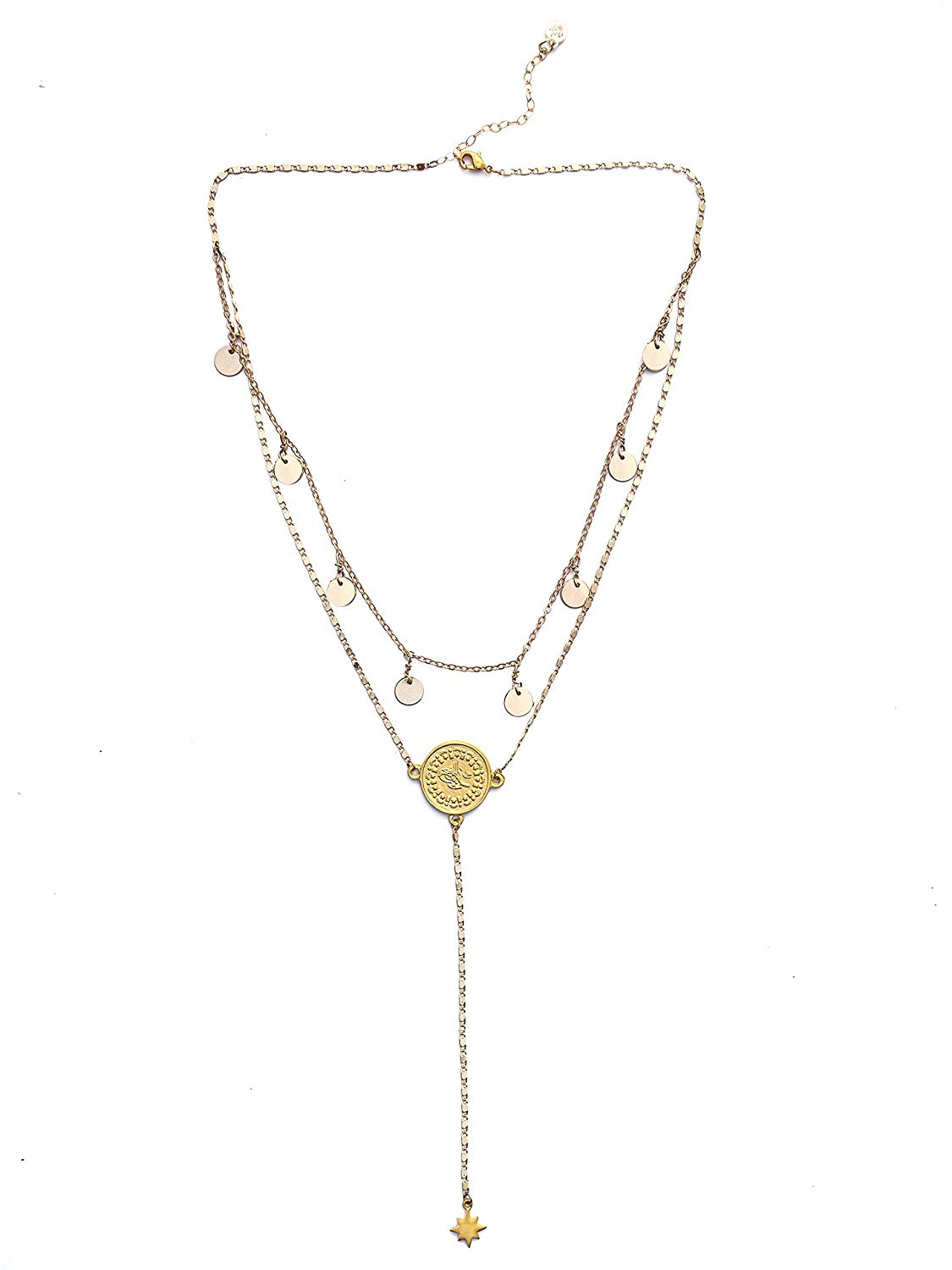 Mod + Jo Layered Lariat Necklace-18k Gold Plated Layered Necklace-Delicate Layered Necklace