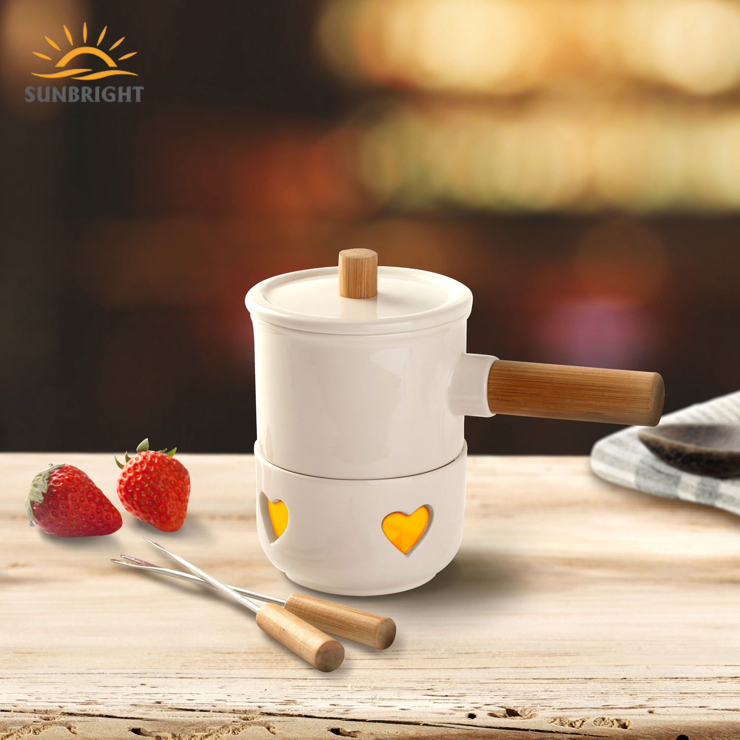 BSCI Fabrikant Professionele Ontwerp Chinese Mini Draagbare Porselein Kerst Chocolade Fondue Set