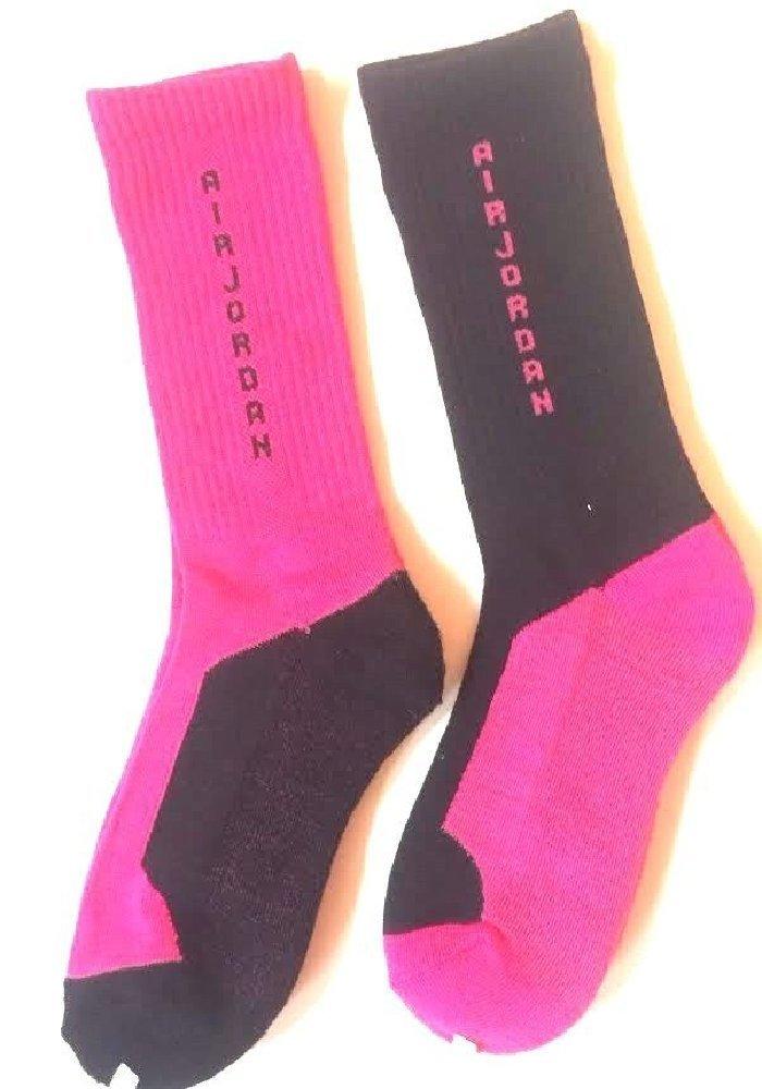 Nike Air Jordan 2 Pairs/Pack Youth Girl's High Crew Socks, 5Y-7Y/9-11