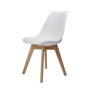 China Made Plastic Tulip Dining Chair with Four Wood Legs
