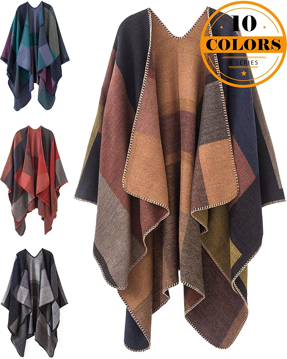 8a7343db2 Get Quotations · KirGiabo Women's Color Block Shawl Wrap,Plus Size Cardigan Poncho  Cape,Open Front Long
