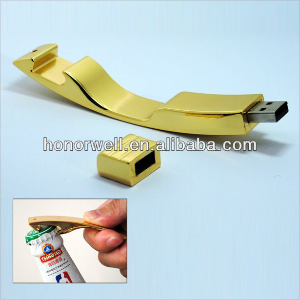 Golden Multi Bottle Shape Opener usb stick with laser logo