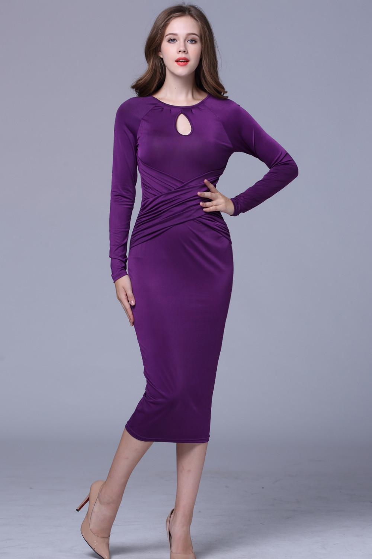Vestidos de Noche pretty azul manga larga mujeres formal largo del ...