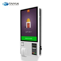 24 inch Wall Mounted Self Service order payment touch Kiosks with printer and scanner