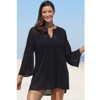 abb44b7bc2967 Sexy Women Plus Size Cover Up See-Through Mesh V-Neck Long Sleeve Beachwear