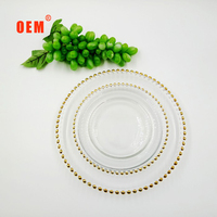 elegant cheap plastic charger plates/silver beaded clear glass charger plates
