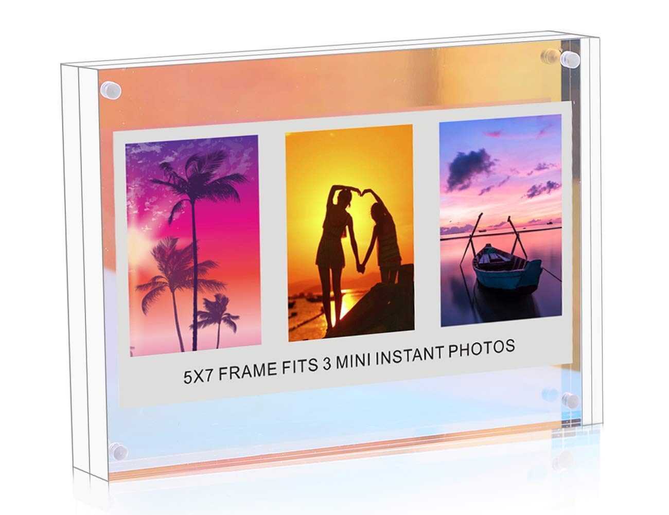 Winkine 5x7 Iridescent Acrylic Photo Frame, Clear Block + Rainbow Block Double Sided Self Standing Desk Picture Display, Wedding/Christmas Card Frame with Gift Box Package