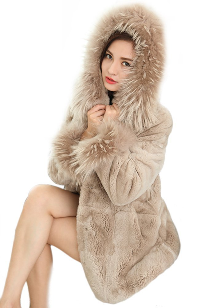 Queenshiny Women's 100% Real Rex Rabbit Fur Coat with Raccoon Collar with Hood