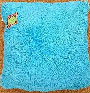 Jenner 16-inch Shaggy Throw Faux Fur Decorative Pillow All Colors Cushion (Aqua Blue)