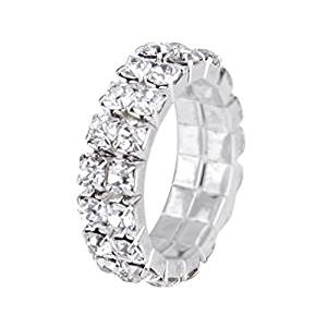 Toe Ring - TOOGOO(R) 3 pcs. The elastic silver tone crystal finger ring single row rhinestone bridal jewelry 3mm