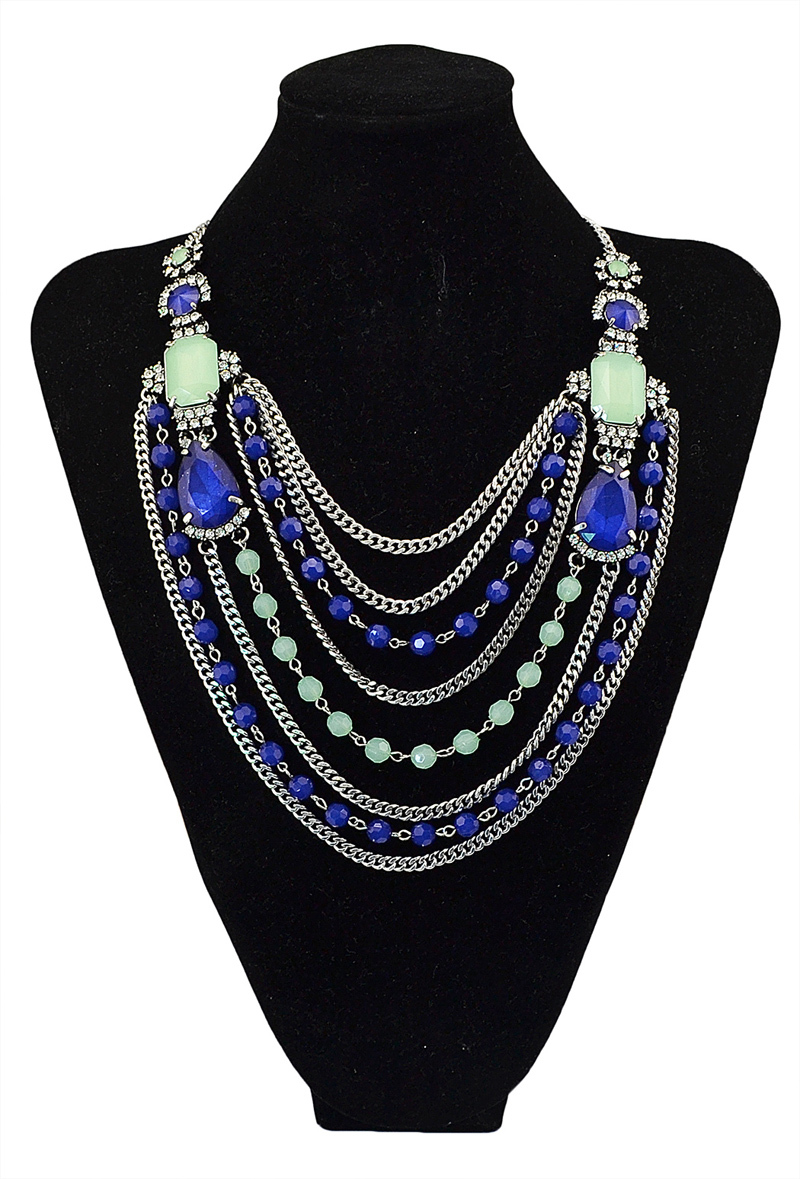 Hot Sell New Fashion European Women Fashion Crystal Jewelry Charm Alloy  Statement Necklace