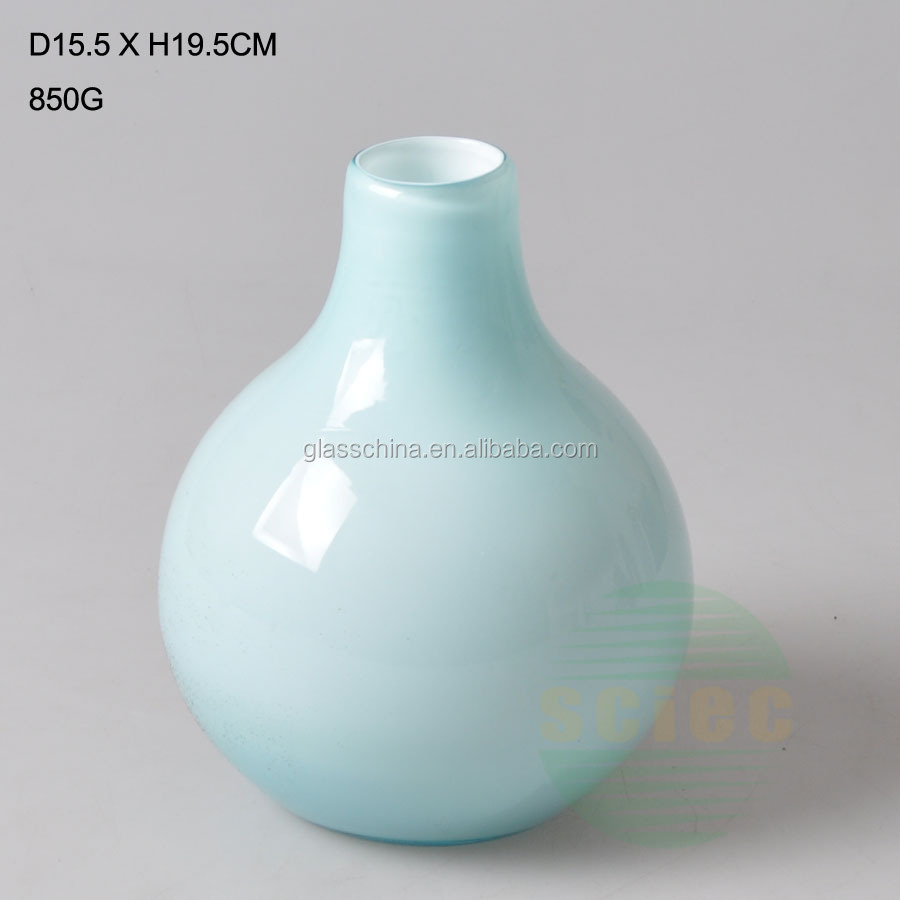 MODERN DESIGN LUXURY COLOR GLASS VASE WITH BIG BELLY