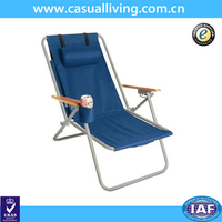 Outdoor Steel Frame Foldable Beach Lounge Chair with Wooden Armrest and Small Pillow