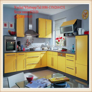 2017 modern high quality yellow kitchen cabinet