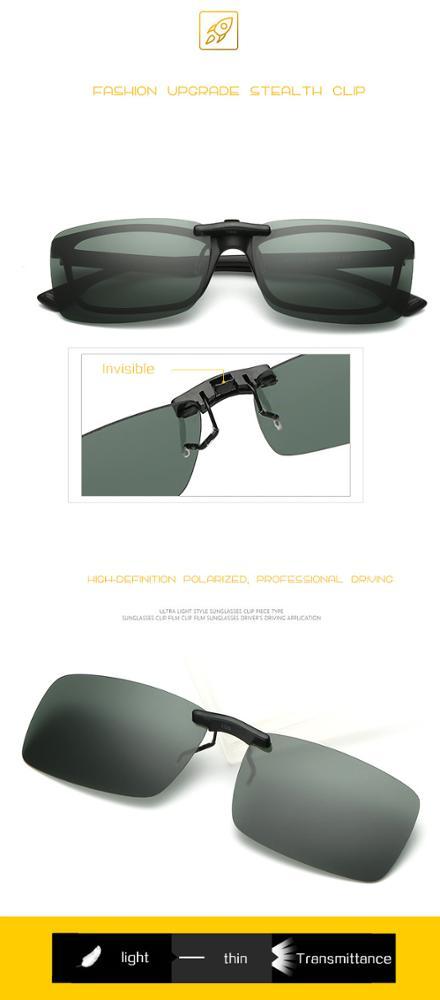 443c1baeb20ad Lente Polarizada óculos de Sol Clip sobre Óculos de Miopia Sem Aro clássico  Flip em Óculos