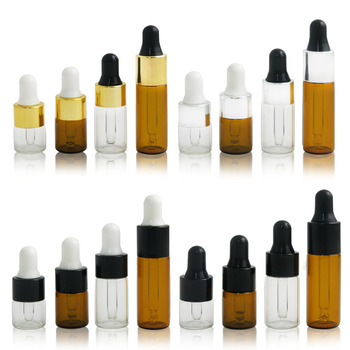 1ml 2ml 3ml 5ml amber clear Portable Aromatherapy Esstenial Oil Bottle With Eye Dropper Mini Empty Pipette Dropper Glass Vials