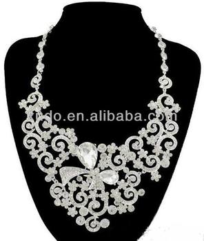 latest fashion handmade white stone necklace set american diamond necklace sets