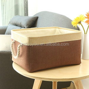 Durable Structure Lined Collapsible Storage Box with Two Roap Handles