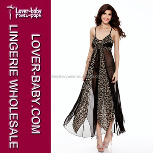5a0b81e0ce0 See-through Black and Yellow Leopard Printed Lingerie Gowns and Sexy Night  Wear Long Dres