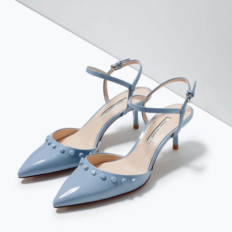 629b5b22e10a Get Quotations · 2015 New Women Fashion Light Blue Med Heel Slingback  Sandals Pointy Toe Party Pumps Candy Colors