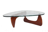 Japanese designer Isamu wooden tea table with glass top