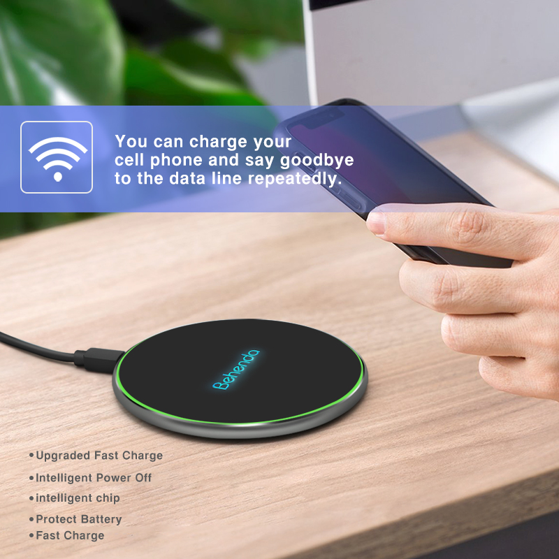 Best selling wireless charger fast charge charger sensor base with LED Shining LOGO for iphone 11
