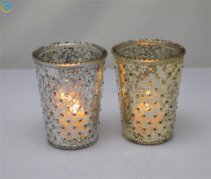 tall mercury glass candle containers