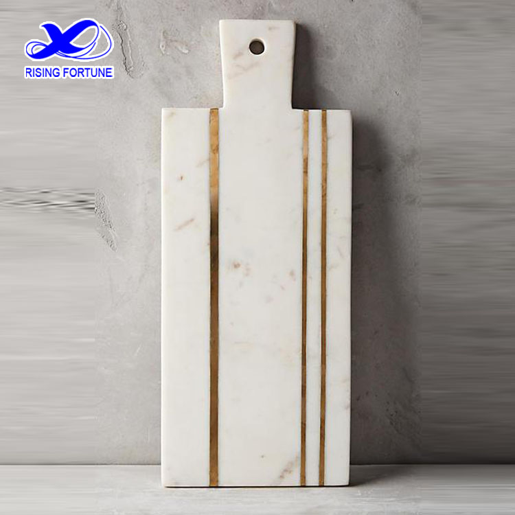 White marble brass inlay cheese board