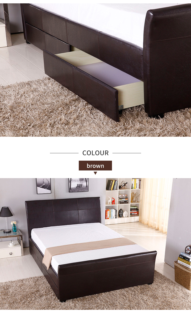 Modern Bedroom Furniture Upholstered Storage Faux Leather Wood Double Bed Designs with Box Drawer