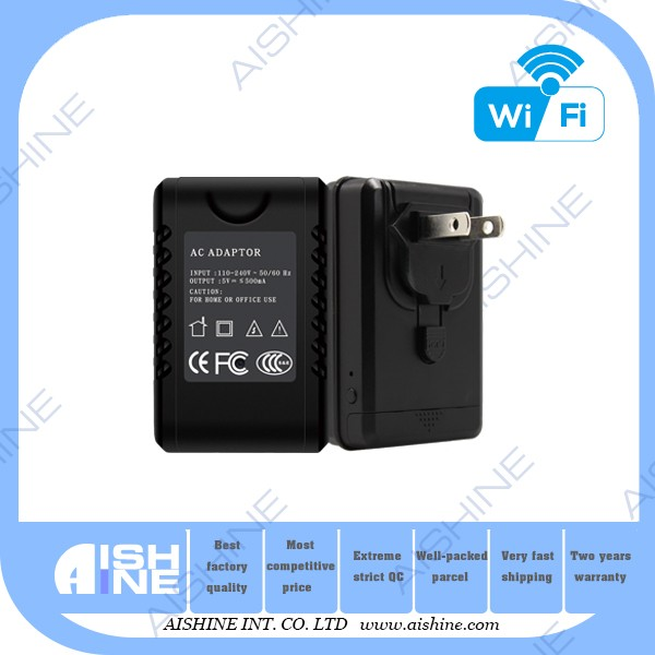 New unique <strong>WIFI</strong> H.264 Wall plug power charger adapter hidden camera made in china