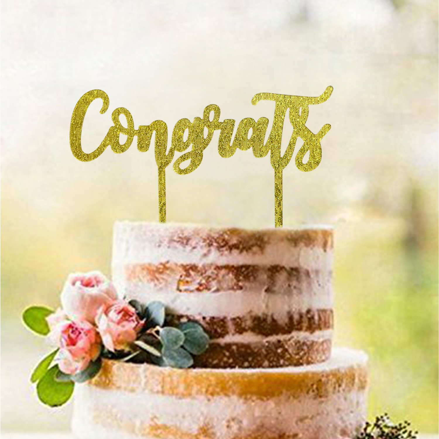 Buy Gold Congrats Cake Topper | Acrylic Graduation Cake Toppers 2018 ...
