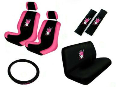 11pc Pink Auto Accessories Interior Velour Seat Covers - Buy Pink ...