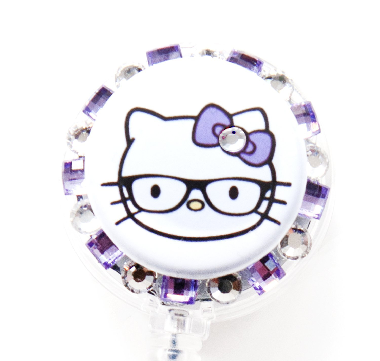 df0b1ac25 Get Quotations · Nerd Hello Kitty RHINESTONE BADGE REEL, RHINESTONE PENDANT  STYLE, RHINESTONE RETRACTABLE BADGE REEL,