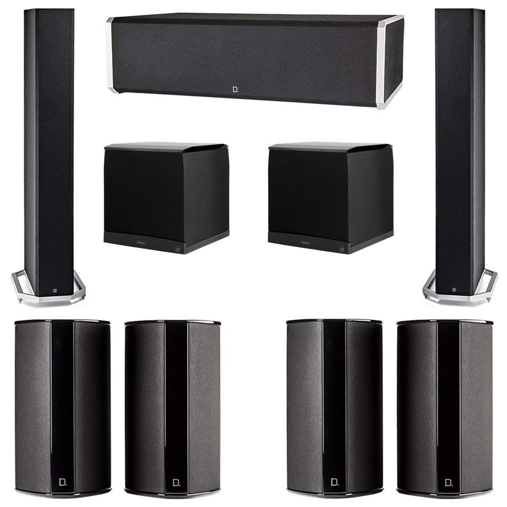 Definitive Technology 7.2 System with 2 BP9060 Tower Speakers, 1 CS9060 Center Channel Speaker, 4 SR9080 Surround Speaker, 2 Definitive Technology SuperCube 8000 Powered Subwoofer
