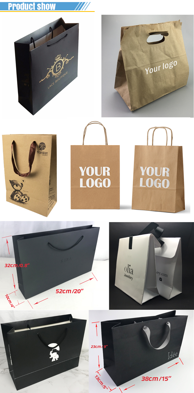 custom design handle black cardboard  paper bag with your logo