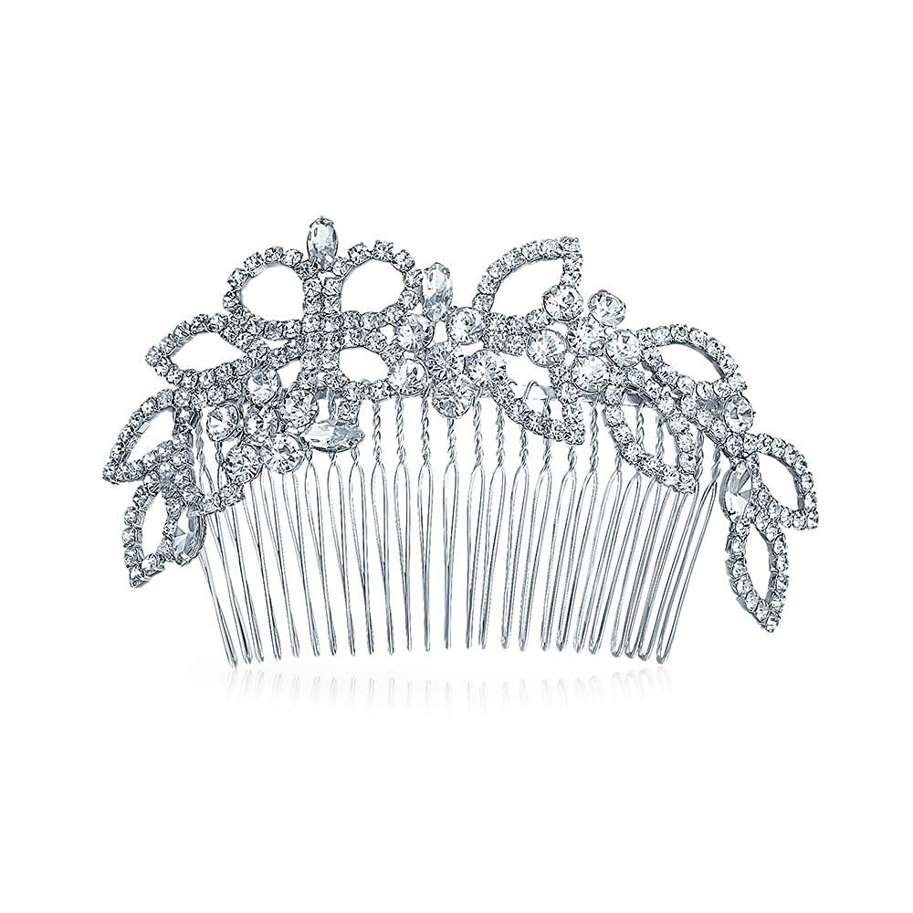 Bling Jewelry Rhinestone Princess Bridal Tiara Hair Comb Silver Plated