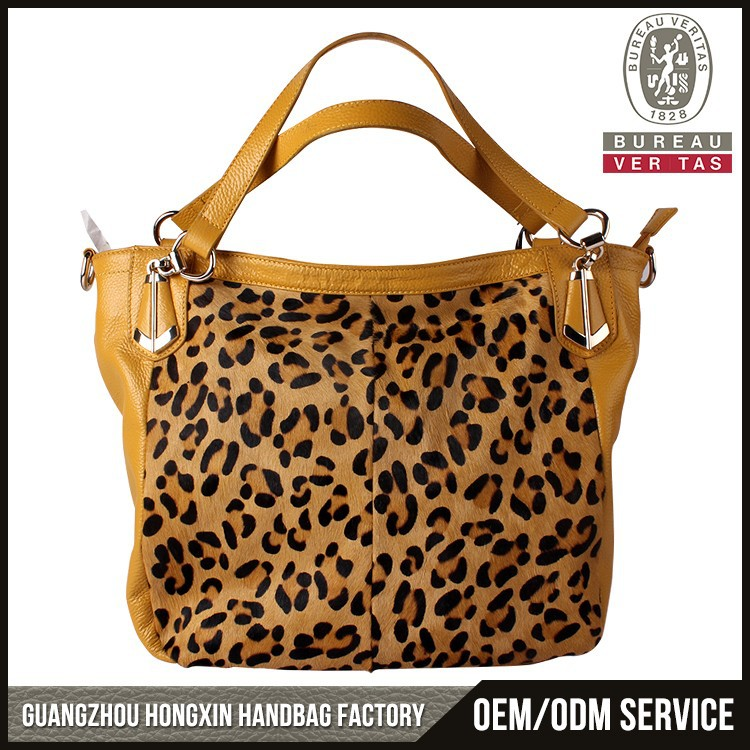 2017 High quality genuine leather pony hair tote bag litchi leather women fashion leopard handbag manufacturers china