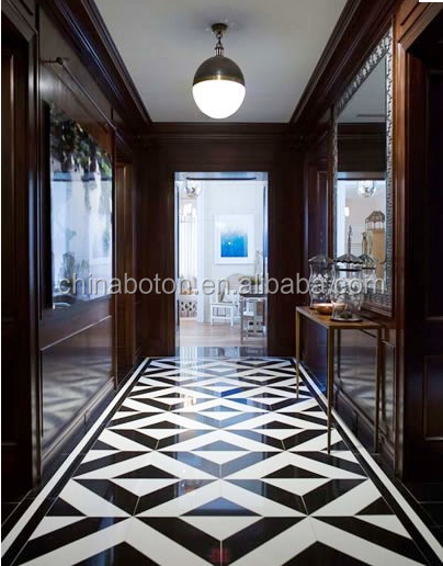Elegant Black White Colored Italian Luxury Marble Floor Design