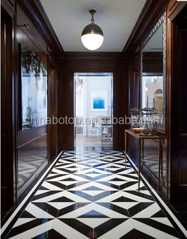 Elegant Black White Colored Italian Luxury Marble Floor Design