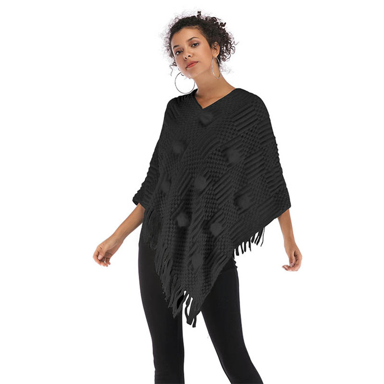 China Factory 2018 Winter Irregular V Neck Knitted Shawl Sweater Women Cloak Coat With Tassel Fur Ball